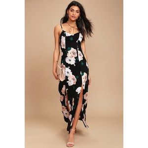 Peony For Your Thoughts Black Floral Print Maxi
